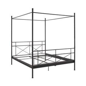 Czarne łóżko metalowe dwuosobowe z baldachimem Støraa Tanja, 160x200cm