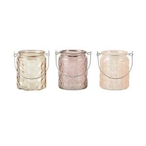 Zestaw 3 kremowych świeczników na tealight KJ Collection Glass, 10x8cm