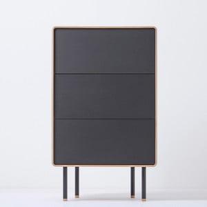 Dębowa komoda z 3 czarnymi szufladami Gazzda Fina