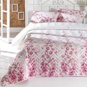 Pikowana narzuta dwuosobowa z poszewkami na poduszki La Vie en Rose,200x220cm