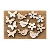 Zestaw 36 drewnianych ptaszków, motyli, kwiatków Boltze