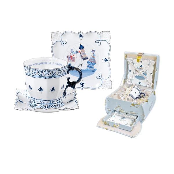 Porcelanowy komplet: filiżanka, spodek, talerz Russia