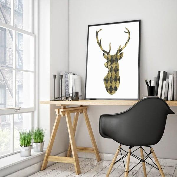 Plakat w drewnianej ramie Gold Deer, 38x28 cm