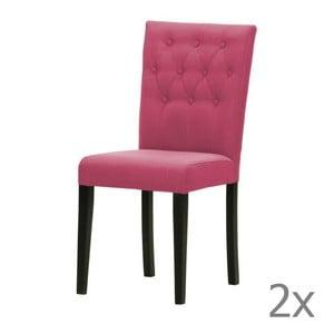 Komplet 2 krzeseł Monako Etna Pink, czarne nóżki