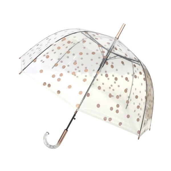 Przezroczysty parasol z detalami w złotej barwie Ambiance Birdcage Dots, ⌀ 85 cm