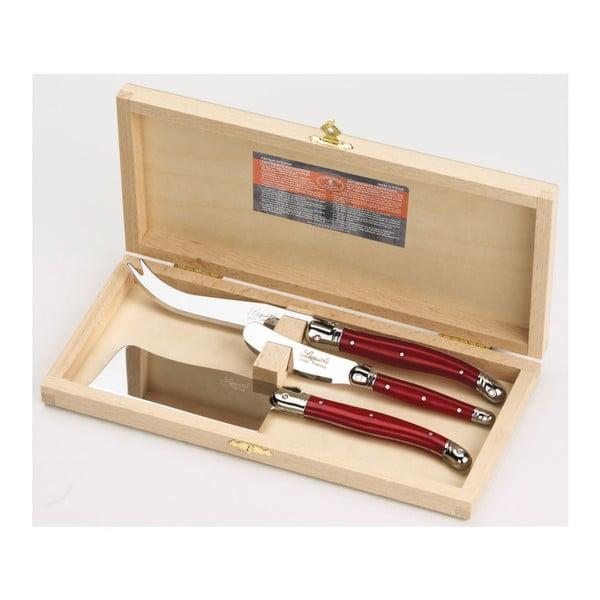 Zestaw 3 noży do serów w drewnianym opakowaniu Jean Dubost