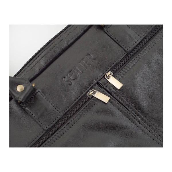 Męska torba skórzana Solier SL01 Black