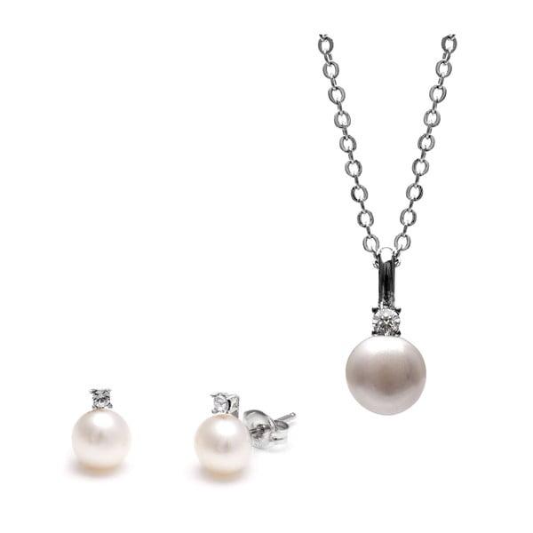 Zestaw naszyjnika i kolczyków z białą perłą i kryształami Swarovski GemSeller Clussi