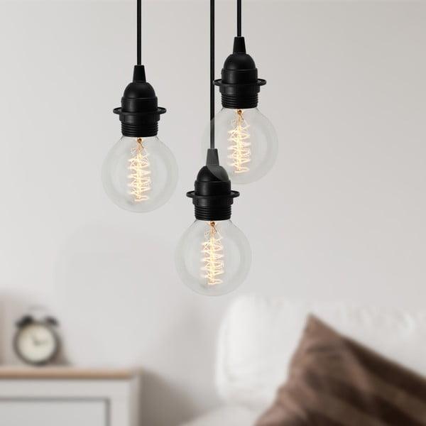 Czarna trzyramienna lampa wisząca Bulb Attack Uno Plus