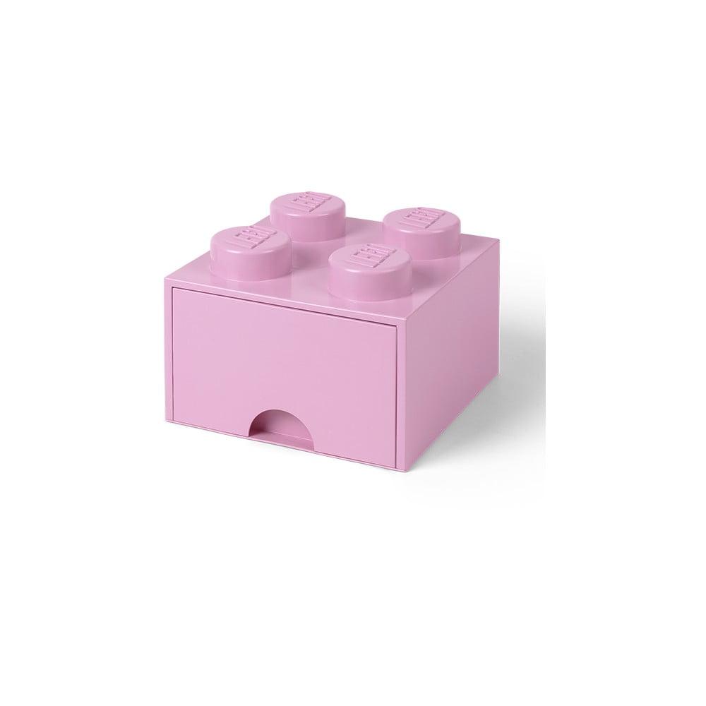 Jasnoróżowy pojemnik kwadratowy LEGO®
