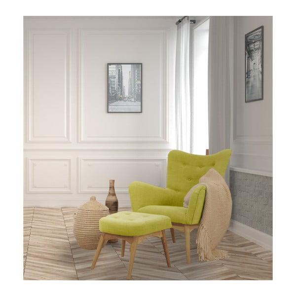 Żółty fotel z podnóżkiem Helga Interiors Karl