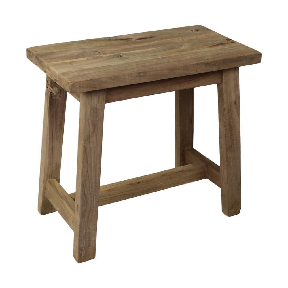 Stołek z drewna tekowego HSM collection Rustical, dł. 50 cm