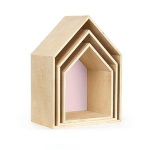 Zestaw 3 półeczek Houses, różowe