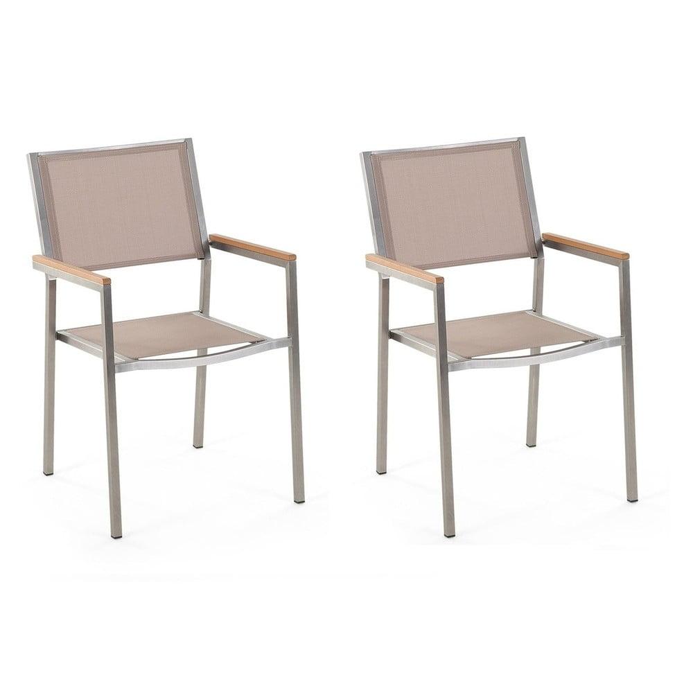 Zestaw 2 beżowych krzeseł ogrodowych Monobeli Classy