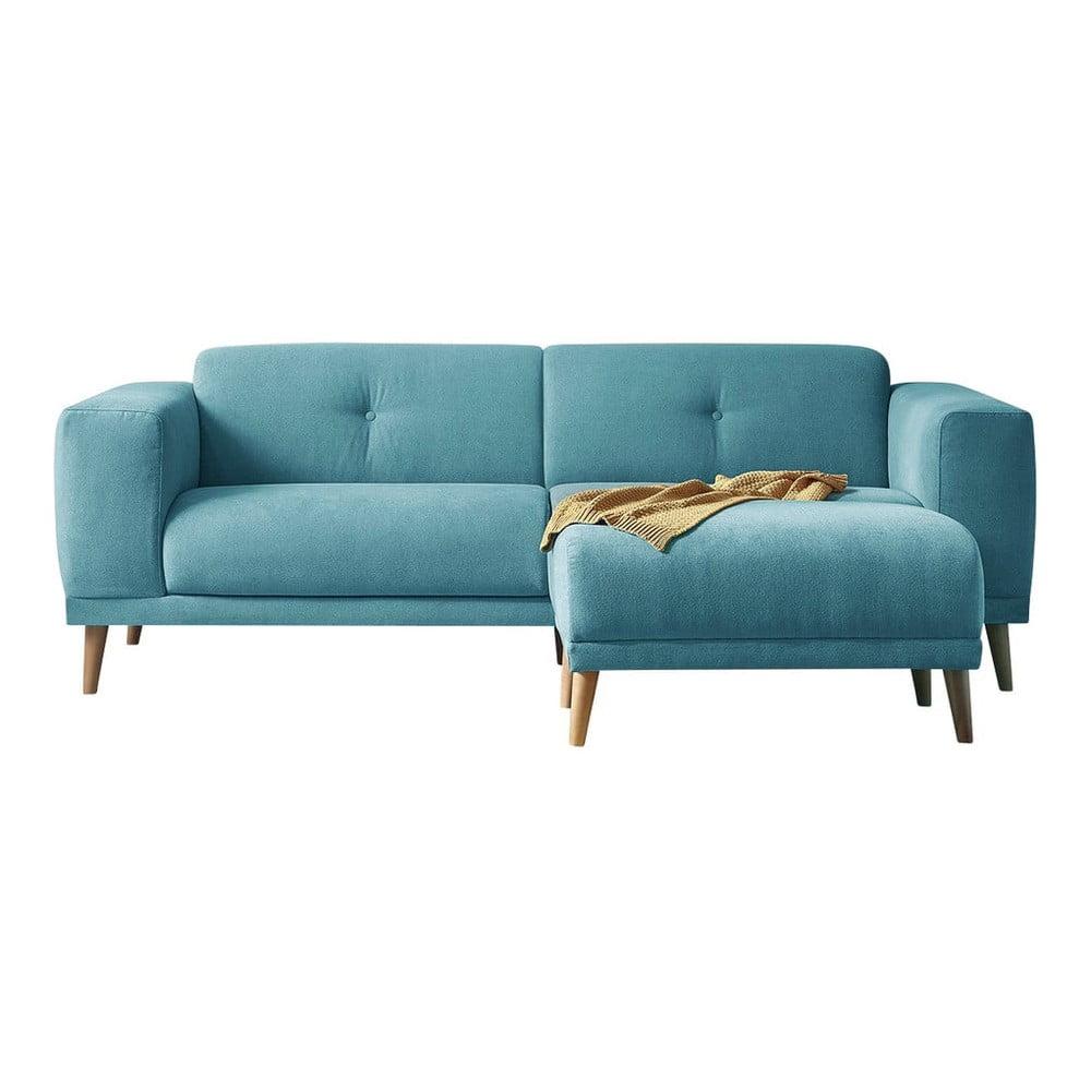 Turkusowa sofa z podnóżkiem Bobochic Paris Luna