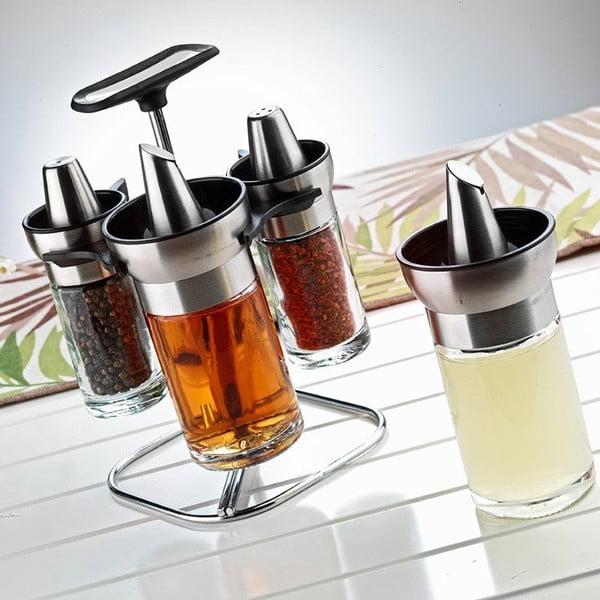 Zestaw 4 słoiczków na olej/oliwę/ocet ze stali nierdzewnej Triger, 170 ml
