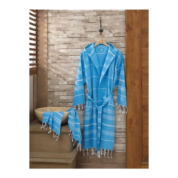 Zestaw szlafrok i ręcznik Sultan Blue, rozmiar S/M