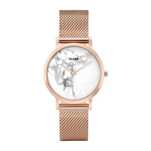 Zegarek ze stali nierdzewnej w kolorze różowego złota z marmurowym cyferblatem Cluse La Roche Petite