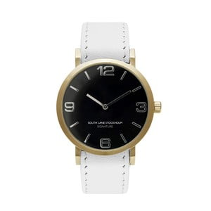 Zegarek unisex z białym paskiem South Lane Stockholm Signature Black Gold Big Leather