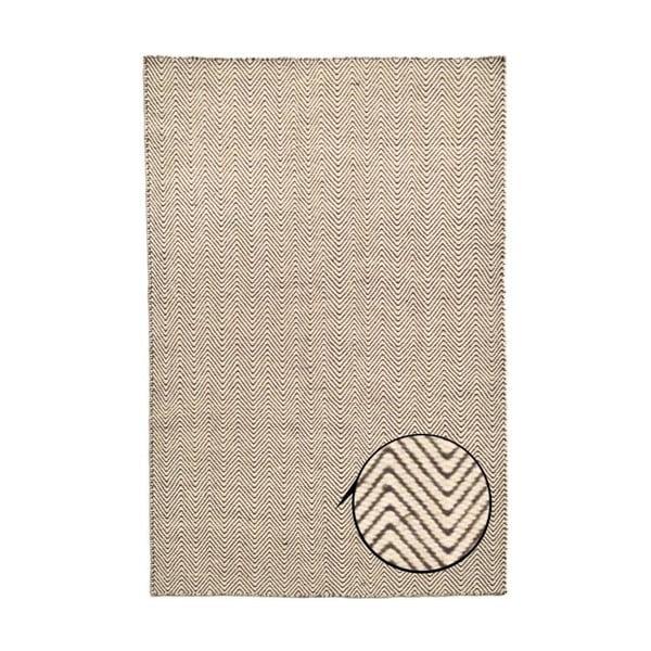Ręcznie tkany dywan Kilim Chevron White/Brown, 98x160 cm