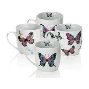Zestaw 4 porcelanowych kubków Sabichi Mariposa, 350 ml
