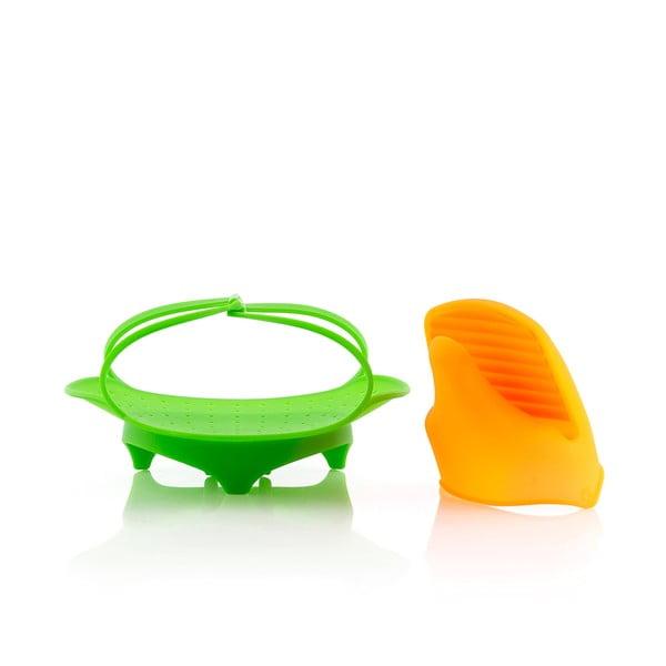 Zestaw składanego sitka silikonowego do gotowania na parze i rękawicy InnovaGoods