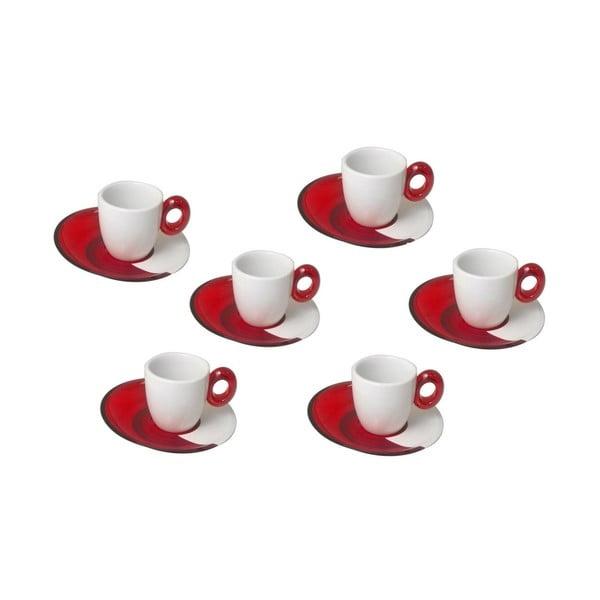 Komplet 6 małych czerwonych filiżanek