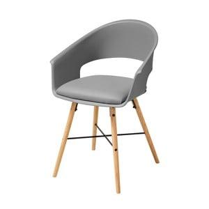 Šedá jídelní židle s podnožím z bukového dřeva Actona Ivar