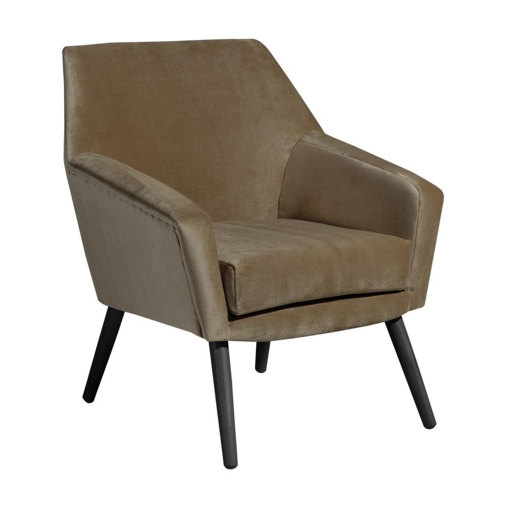 Brązowy aksamitny fotel z czarnymi nogami Max Winzer Alegro