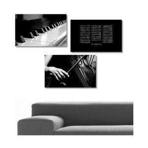 Trzyczęściowy obraz Music, 45x90 cm