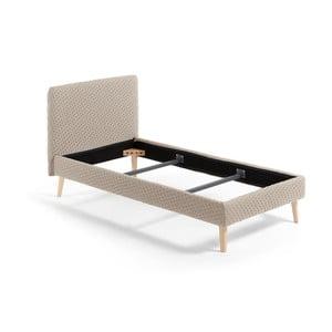 Beżowe tapicerowane łóżko 1-osobowe La Forma Lydia Dotted, 190x90cm