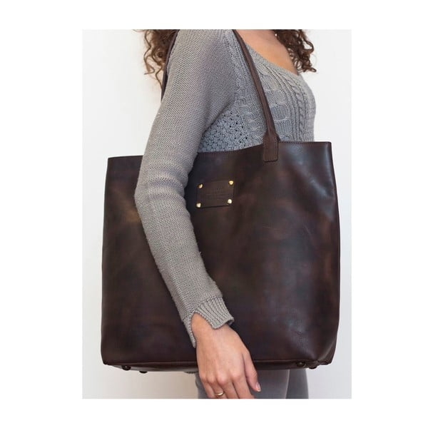 Skórzana torba vintage Posh Stacey, ciemnobrązowa