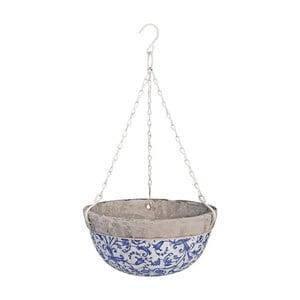 Niebiesko-biała ceramiczna doniczka wisząca Ego Dekor, 2,4 l