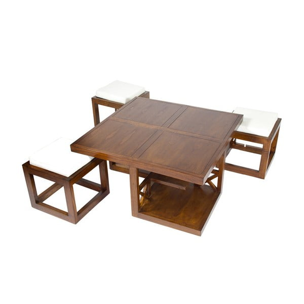 Stolik z 3 stołkami z drewna mindi Santiago Pons Ara