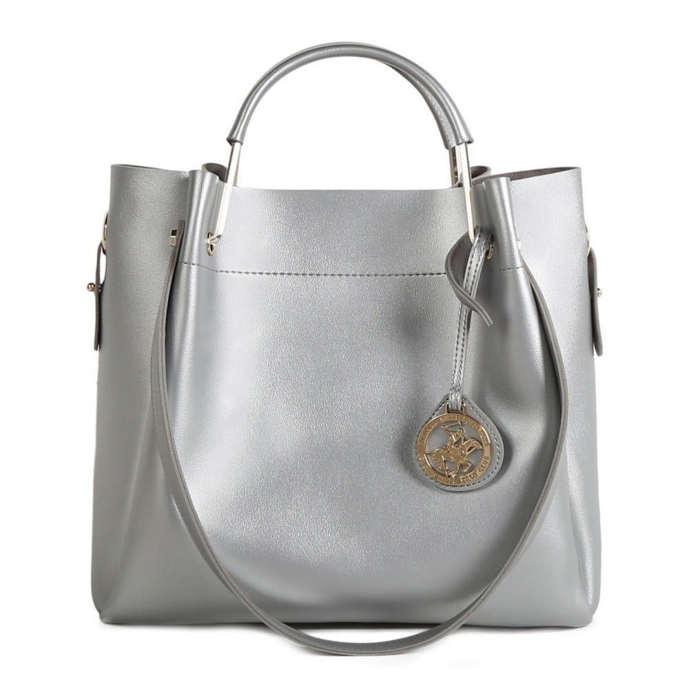 5512cbc8d33dd Torebka w kolorze srebra ze skóry ekologicznej Beverly Hills Polo Club Amy