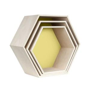 Zestaw 3 półeczek Hexagon, żółte