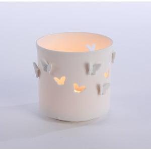 Porcelanowy świecznik Butterflies 9x9 cm, biały