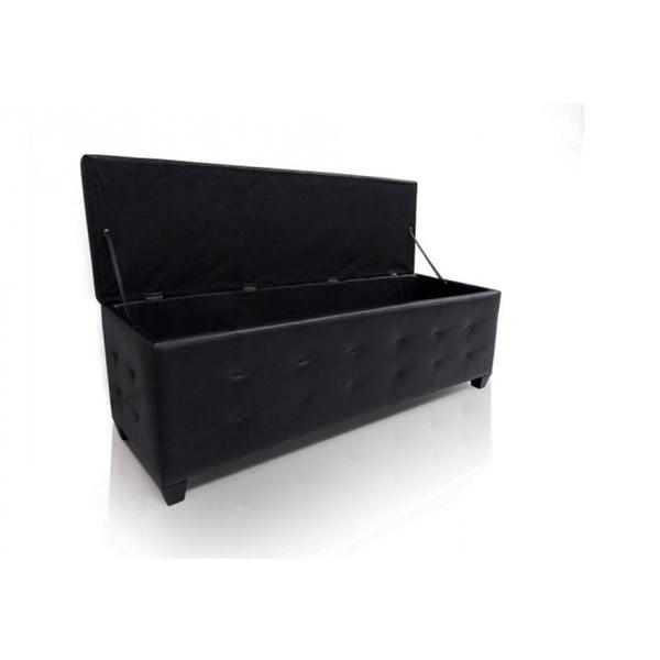 Czarna otomana/ławka ze schowkiem Evergreen House Elegance