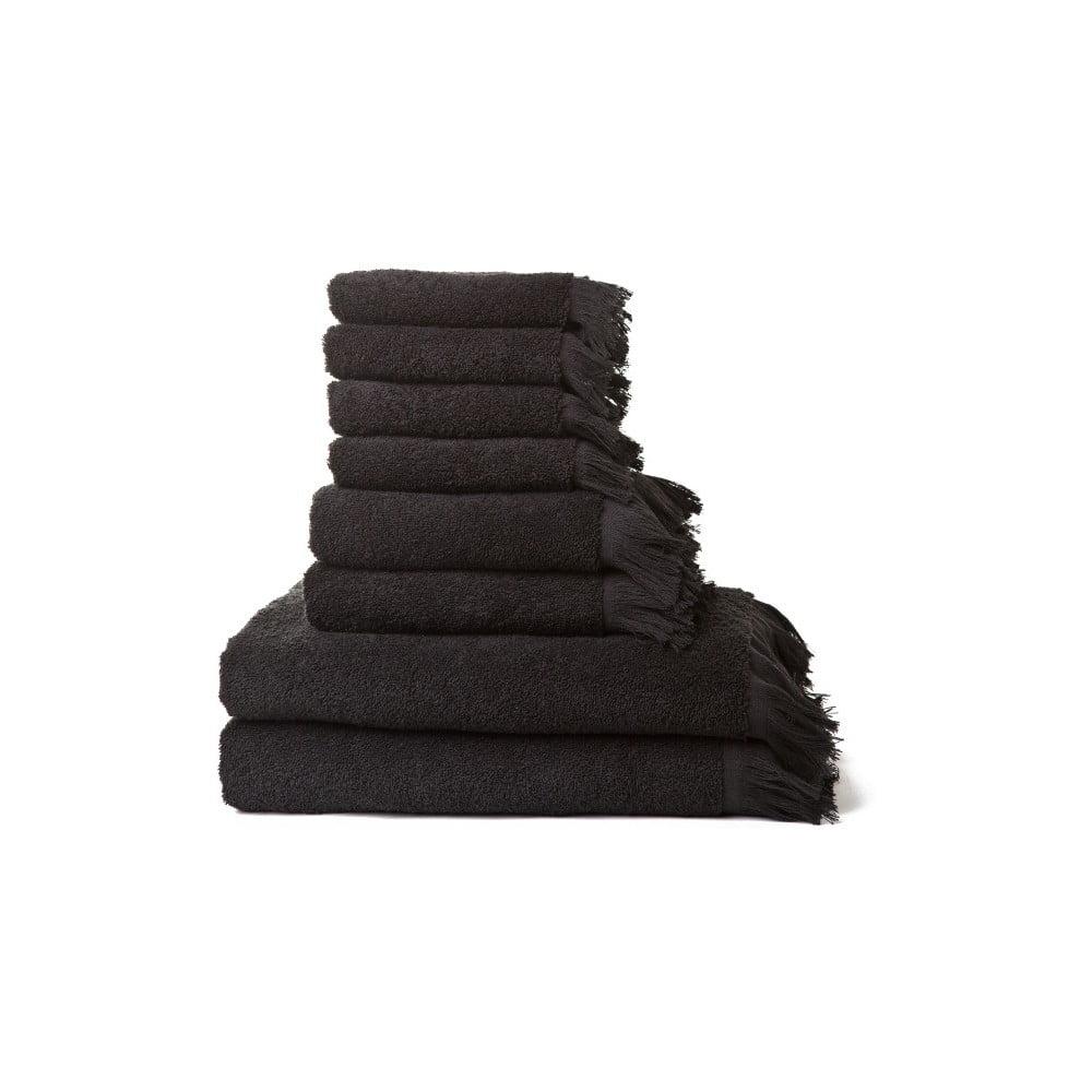zestaw 8 czarnych r cznik w z czystej bawe ny casa di bassi bonami. Black Bedroom Furniture Sets. Home Design Ideas