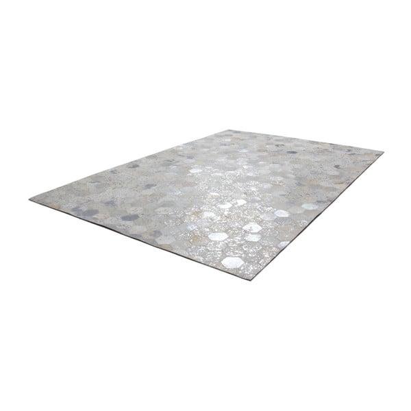 Kremowo-Srebrny skórzany dywan Daz, 120x170cm