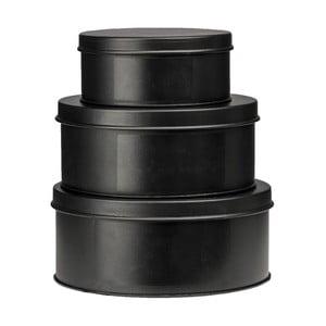 Zestaw 3 blaszanych pojemników Chalkboard Black