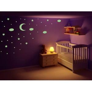 Świecąca w ciemności naklejka Gwiazdy, księżyc i chmury, 60x30 cm