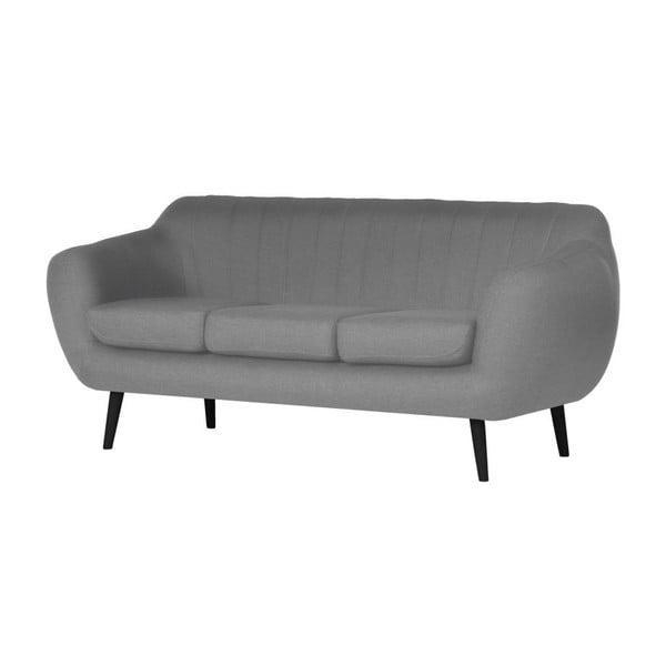 Szara   sofa trzyosobowa z czarnymi nóżkami Wintech Azzure Sawana