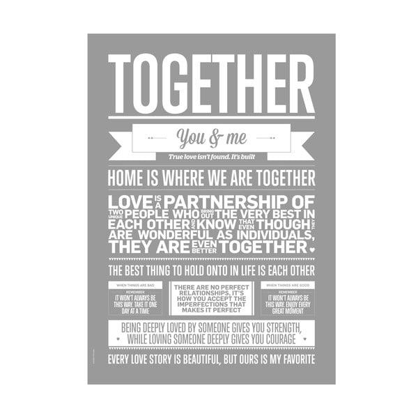 Plakat autorski Together Grey, 50x70 cm