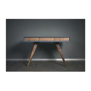 Niebieskie biurko z litego drewna jesionowego Charlie Pommier Triangle, 140x40cm