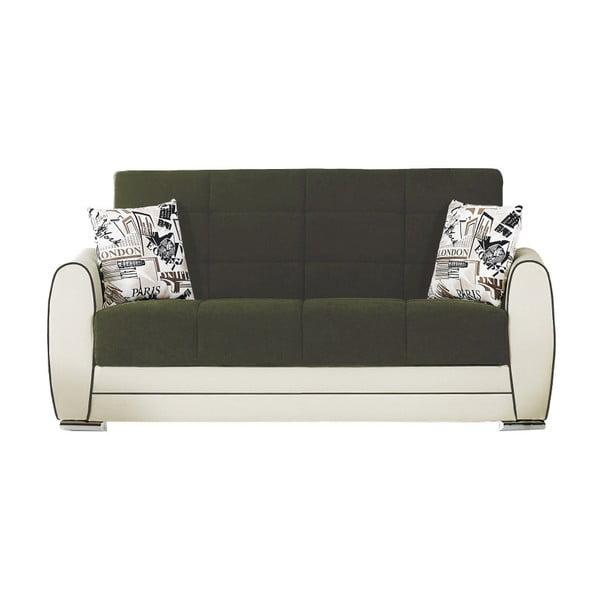 Ciemnozielono-kremowa dwuosobowa sofa rozkładana ze schowkiem Esidra Rest