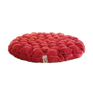 Czerwona poduszka do siedzenia wypełniona piłeczkami do masażu Lindy Vrňáková Bloom, Ø 75 cm