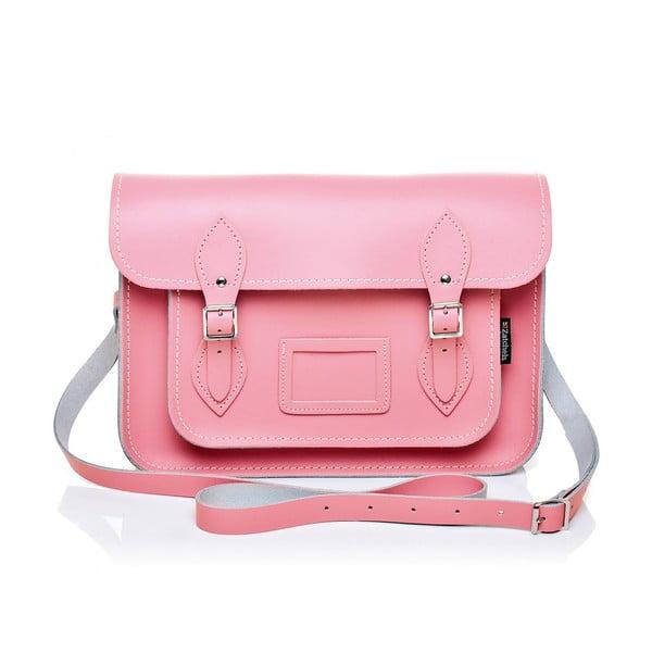 Skórzana torebka Satchel 29 cm, różowa