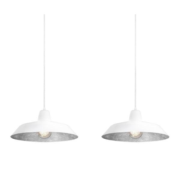 Podwójna  biało-srebrna lampa wisząca Bulb Attack Cinco