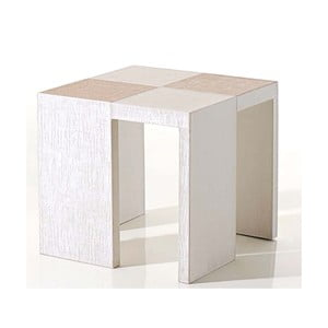 Stolik obity skórą wegańską Table Side White